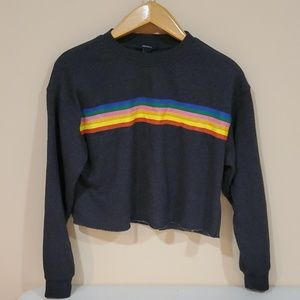Forever 21 Ranbow Strip Cut of Crop Crewneck